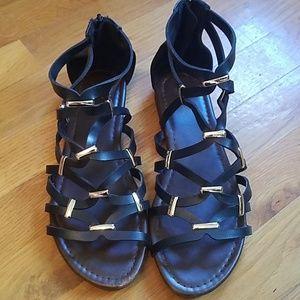 Brash Black Gold Gladiator Sandals